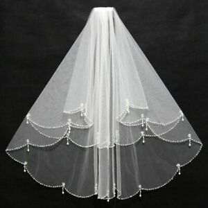 Women-Bridal-Veil-With-Comb-2-Layers-Tulle-Sequin-Beads-Bridal-Wedding-Accessory