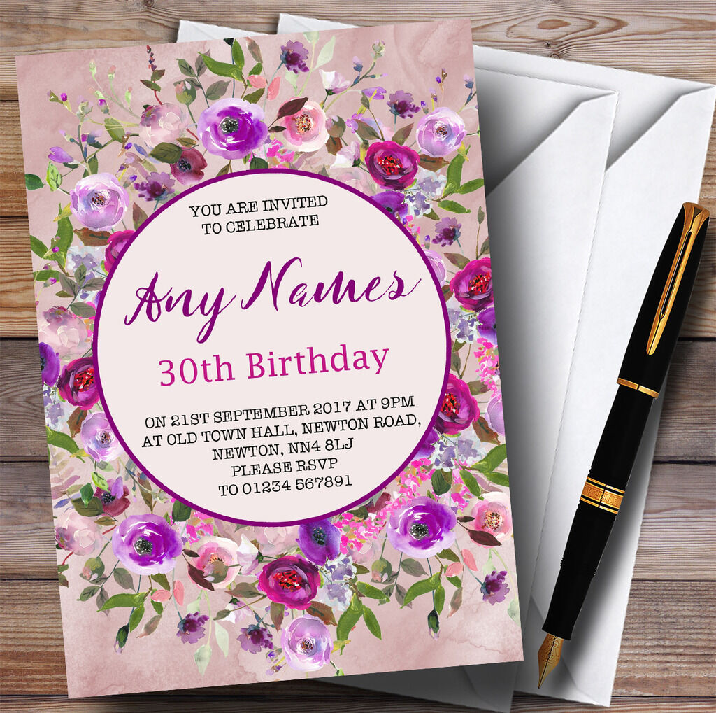 Rosa Lila Watercolour Floral 30th Party Personalised Birthday Invitations 24f0a0