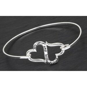 GIFT-BOXED-Equilibrium-Silver-Plated-Eternal-Hearts-Bangle-Mum-Friend-Bracelet