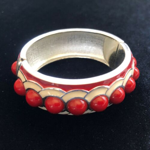 Vintage 1980s Red & White Enamel Bangle Bracelet F