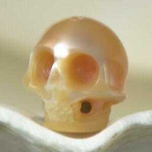 9-85-mm-Human-Skull-Bead-Carving-Natural-Peach-Freshwater-Pearl-0-91-g-drilled