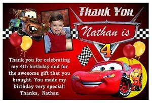 Disney Cars Birthday Party Thank You Card Design W Or W O Photo Ebay
