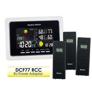 Meteo-Gare-Temperature-Humidite-DCF77-RCC-Sans-fil-Interieur-Exterieur-3-Capteur