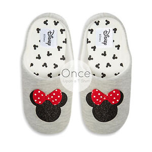 52599ad5fdcb Details about Primark DISNEY MINNIE MOUSE LOGO GLITTER Ladies Novelty Slip  on Slippers