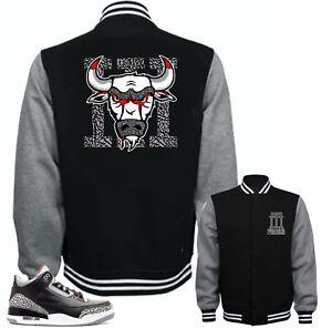 d4988d0bccb Jacket to Match Air Jordan 3 Black Cement Sneakers.Bull 3 Black   eBay