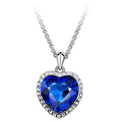 Hot Fashion Titanic Crystal Heart of Ocean Bling Rhinestones Pendant Necklace HG