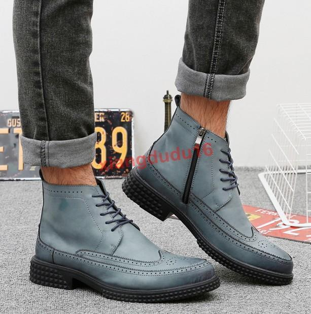 Mens Oxford Brogue Faux leather Chukka Side zippers Formal Ankle Boots US6-10 #