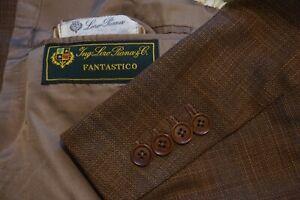 Loro Piana Mainline Fantastico Fabric Brown Blue Windowpane Woven Sport Coat 46R