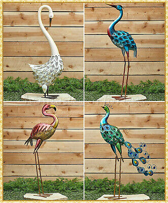 Metallic Metal Peacock Flamingo Heron Swan Tropical Bird Statue Outdoor Decor Ebay