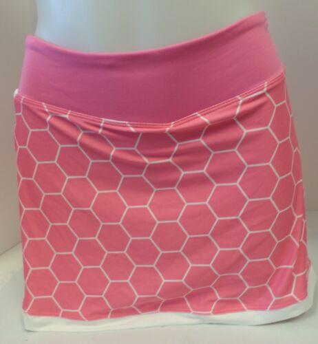 New Nike Women/'s Border Power Tennis Skirt//Skort Pink//White 409674-695 ***