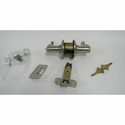 Satin Nickel Schlage F51A FLA 619 Flair Lever Keyed Entry Lock