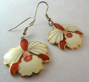 Vintage-Enamel-Orchid-Earrings-Earrings-Flower-Dangles-Red-Cream-Gold-Tone-Metal