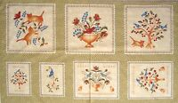 23 Fabric Panel - Maywood Studio 1815 Folk Art Fancies Bird & Cat Blocks Beige