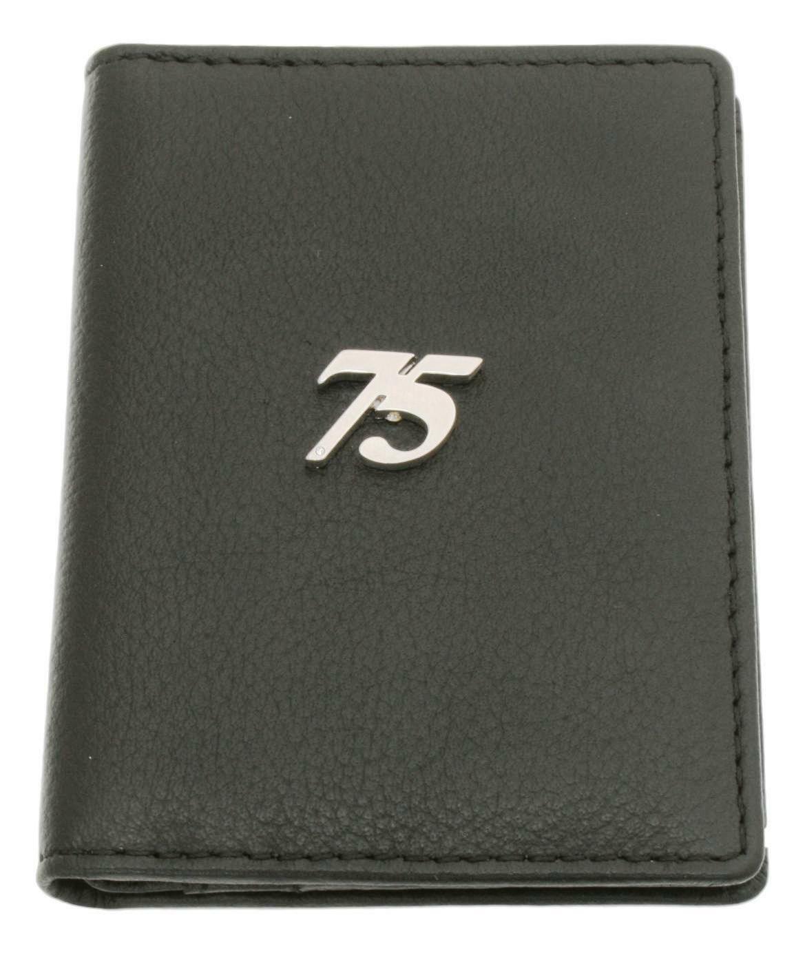 75th Birthday Bifold Card Holder Leather Black Wallet RFID Safe 533