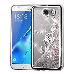 new product 17356 83c48 Details about Samsung Galaxy J7 Prime / J7 Emerge 2017 - Silver Flower  Waterfall Liquid Case
