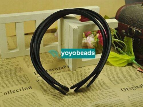 10 en plastique noir bandeau Couvert Satin Hair Band 9 mm pour À faire soi-même Craft