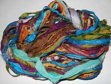 100g Sari Silk Ribbon craft ribbon, jewelry making Tropical Holida