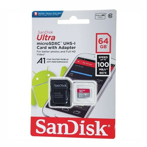 Genuine SanDisk Ultra 64GB microSD XC UHS-I Memory Card With SD Adapter