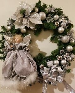Silver Christmas Wreath.Details About Religious Christmas Holiday Wreath 24 Decoration Angel Silver Poinsettia Bells