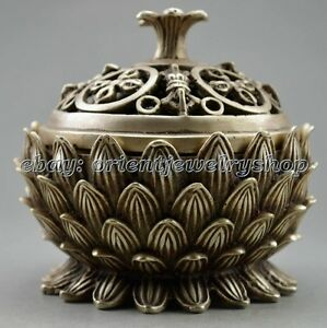 Collectible Ancient Old Handwork Tibet Silver Carved Lotus Incense Burner