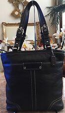 Coach Hamilton Black Pebbled Leather Collection Tote Shoulder Bag F13089 EUC