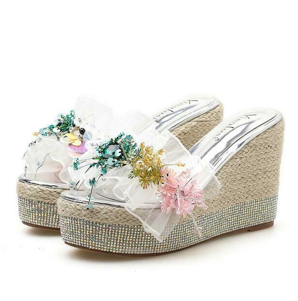 Rhinestones Sequins Floral Lace Platform Shine Wedge High Heel donna sautope Party