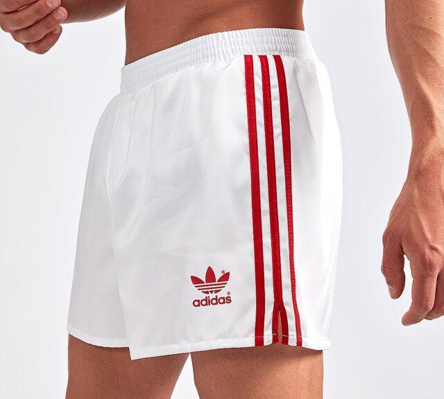 3572e836 adidas Originals Retro 90s Shorts in White & Red - Russia 3 Stripes