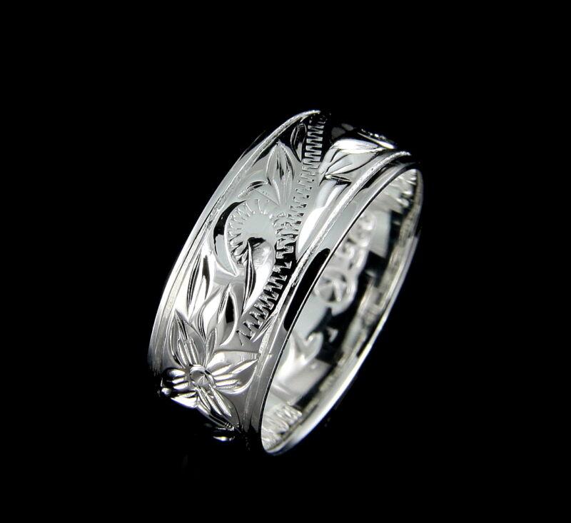 8mm Sterling Silver 925 Hawaiian Band Ring Plumeria Flower Scroll Size 4-14