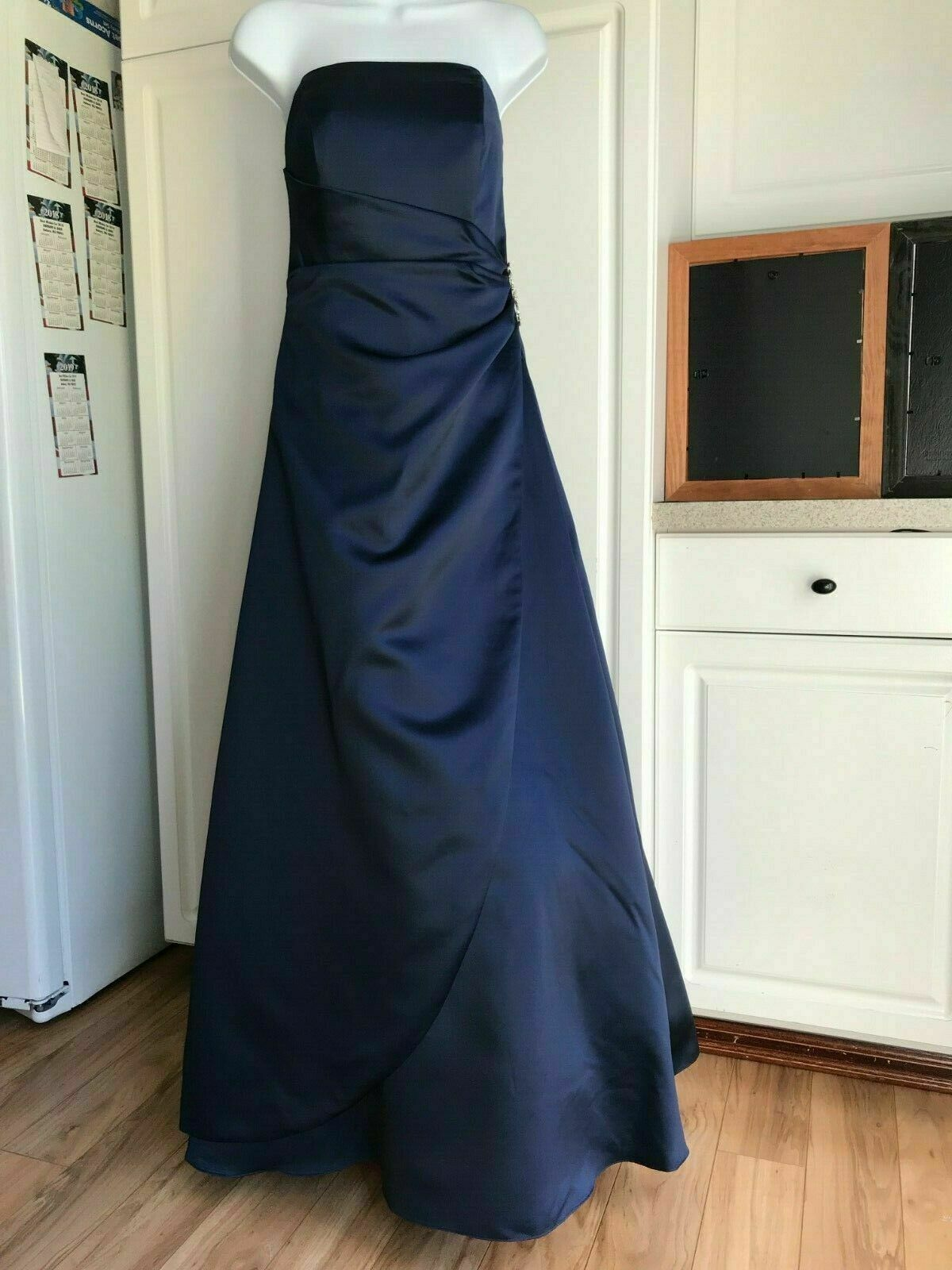 New David's Bridal Dress Size 8 Blue Long Wedding Prom Home Coming Formal Dance
