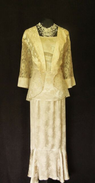 SPENCER ALEXIS Size 22 24 2X Cream Gold Ladies Designer Wedding Outfit