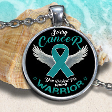 a36e3b15fcb36 Teal W Swarovski Crystal Ovarian Cervical Cancer Awareness Ribbon ...