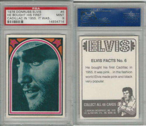 1978 Donruss, Elvis Presley, #6 He Bought His First Cadillac In 1955, PSA 9 Mint