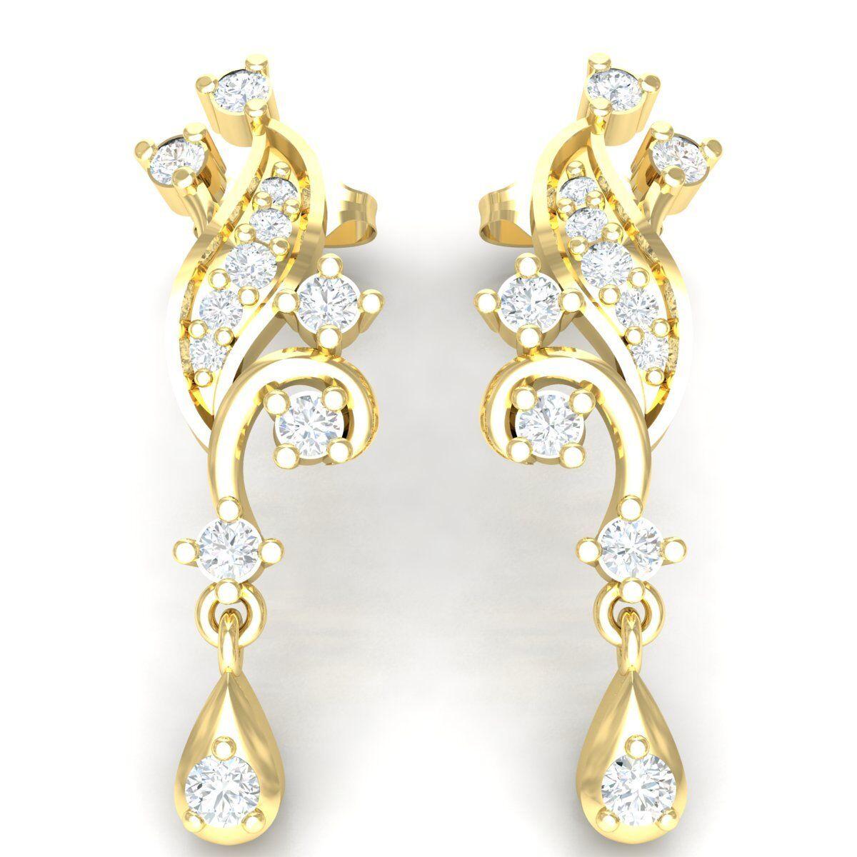 0.33ct Round Cut Genuine Diamond 10K Yellow gold Earrings Women's Stylish Drop