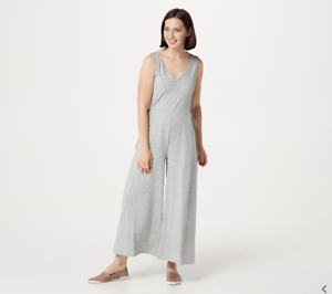 competitive price lace up in various kinds of Details about AnyBody Petite Cozy Knit Wide-Leg Jumpsuit Med.Hthr Grey  Color Size Petite M