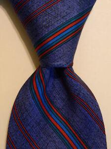 VITALIANO-PANCALDI-Vintage-Men-039-s-Silk-Necktie-ITALY-Luxury-STRIPED-Blue-Red-EUC
