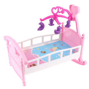 Simulation Baby Doll Bed Cribs Rocking Cradle Toys For Mellchan Baby