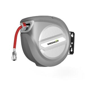 Manguera + enrollador automatico de aire 10 metros con soporte pared -GREENCUT