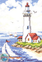 Cross Stitch Kit Janlynn Lighthouse & Sailboats Sea Side Beach 023-0267