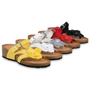 huge discount f0fed 628b9 Details zu Damen Sandaletten Zehentrenner Keilabsatz Pantoletten Blume  Wedges 826321 Schuhe