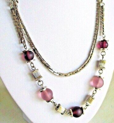 Collier Ancien Double Rang Couleur Argent Perles Opaque Mauve Bijou Vintage 655