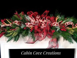 Details About Country Christmas Mantel Garland 2 Teardrop Swags Woodland Rustic Lodge Wreath