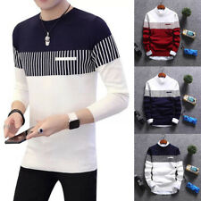 Men Stylish Motive Crewneck Sweater Knit T-Shirts Cardigan Jumper Top W18 XS-3XL