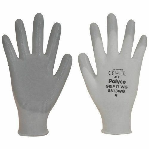 Polyco 8811WG  Knitted Nylon Nitrile Grey White Various Sizes Grip It Gloves