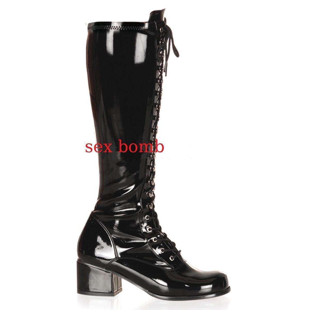 contatore genuino Sexy STIVALI STRINGATI Tacco 5 cm dal dal dal 36 al 44 Nero Lucido Zip scarpe GLAMOUR  per poco costoso
