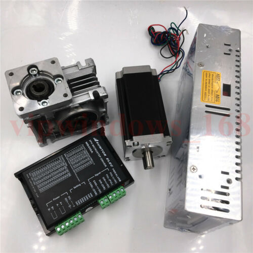 Nema23 Stepper Motor Driver Kit L56mm 10:1 Gearbox Reducer 11Nm Power Supply