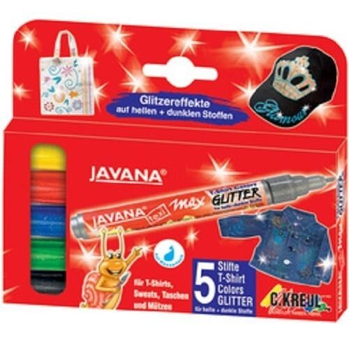Kreul Textilmarker Javana texi Glitter 5 Stück, Permanent Marker Glitzer Stifte