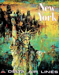 New-York-City-Statue-Of-Liberty-Vintage-Poster-Print-Travel-Airlines-Delta