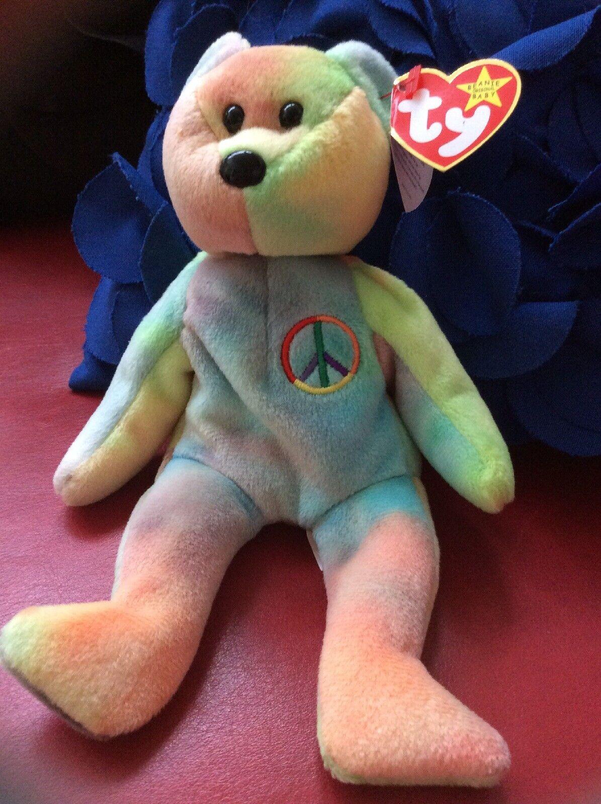 Ty Beanie Babies Peace Bear With PVC pellets