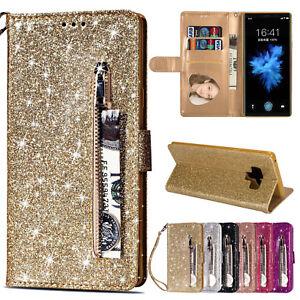 Bling-Cuero-Abatible-Billetera-De-pie-Estuche-Cubierta-para-10-9-S10-Samsung-Galaxy-Note-S9