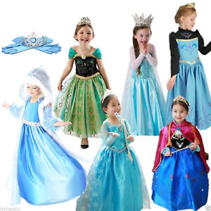 Princess-Dress-Fancy-Costume-Anna-Girls-Kids-Party-Cosplay-Frozen-Halloween